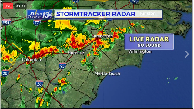 STORM TRACKER LIVE: Severe weather moving into area