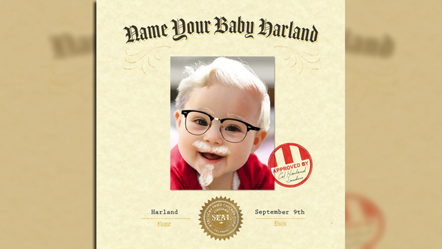Kentucky Fried Chicken will pay you to name your baby Harland