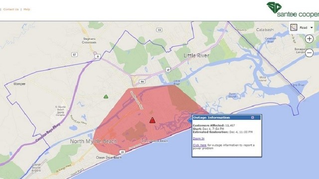 Crash Causes Power Outages For Thousands In North Myrtle Beach Area