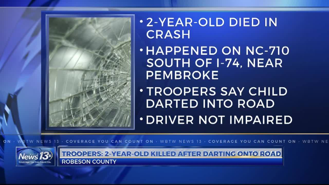 Toddler dies after being hit by vehicle in Robeson County